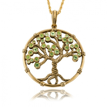 Tree of Life Necklace, Gold Plated with Green Austrian Crystals