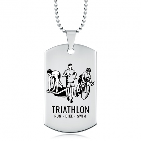 Triathlon, Run, Bike, Swim Dog Tag, Personalised