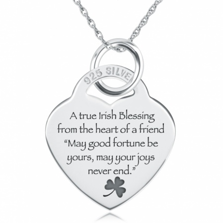 A True Irish Blessing Necklace, Personalised, Sterling Silver
