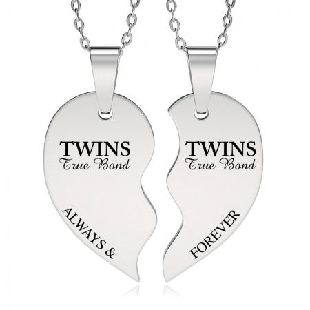 Twins, True Bond, Split Broken Heart Necklace (can be personalised)