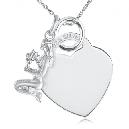 Virgo Necklace, with Heart, Personalised, Sterling Silver, Zodiac