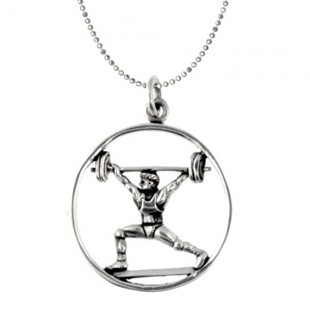 Men's Weight Lifting Necklace Sterling Silver