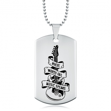 Where Words Fail, Music Speaks Dog Tag, Personalised, Electric Guitar