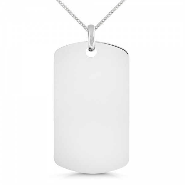 9ct White Gold Small Dog Tag Necklace, with Personalised Engraving