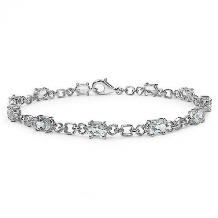 White Topaz & 925 Sterling Silver Ladies Bracelet, 7.5 Inches