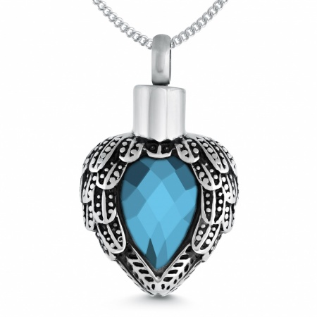 Winged Heart Ashes Locket, Light Blue Cubic Zirconia Stone, Personalised
