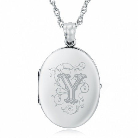 Initial/Letter Y Sterling Silver 2 Photo Locket (can be personalised)