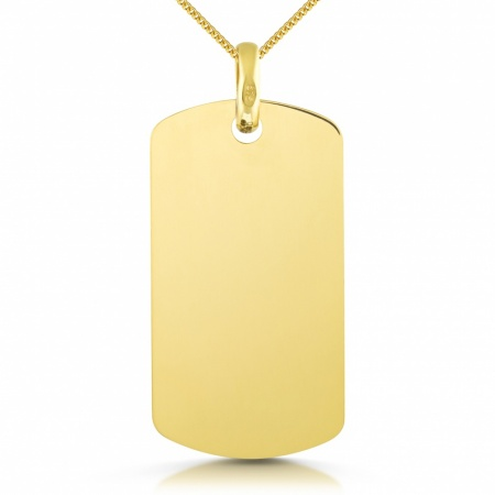 9ct Yellow Gold Dog Tag, Single (can be personalised)