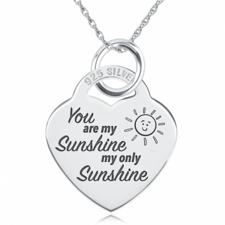 You Are My Sunshine, My Only Sunshine Necklace, Personalised, 925 Sterling Silver