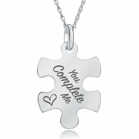 You Complete Me Jigsaw Necklace, Personalised, 925 Sterling Silver
