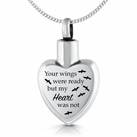 Your Wings Were Ready, My Heart Was Not Ashes Necklace, Personalised